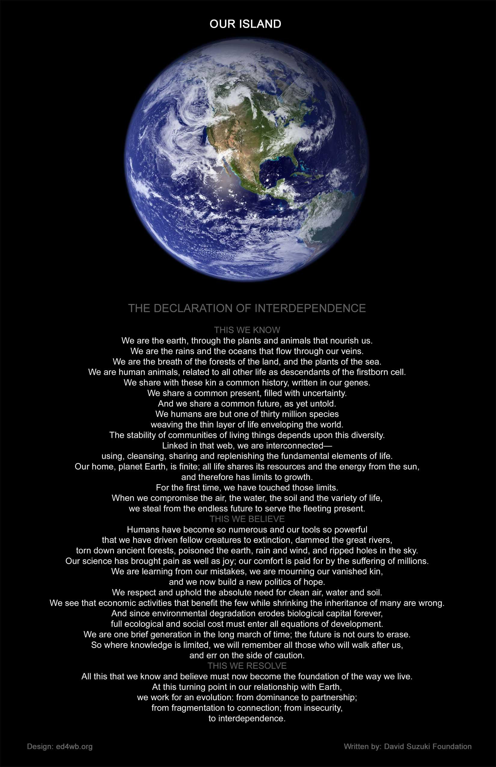 the declaration of interdependence by david suzuki and tara
