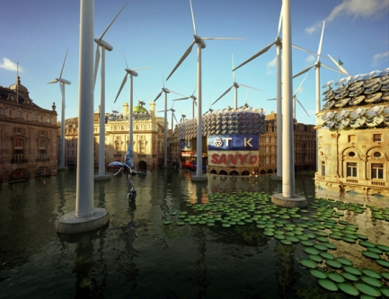 London-Futures-Piccadilly-Circus-Water-lilies-fish-and-wind-turbines